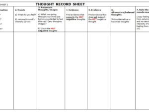 Image of client sheet used in CBT Level 4