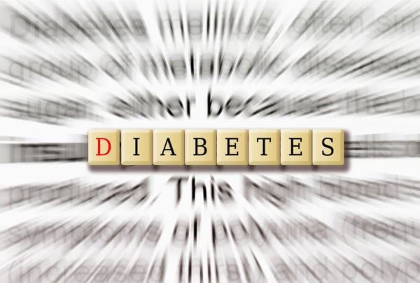 Diabetes Awareness in focus with the description in radial blur